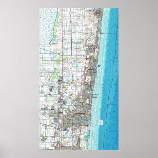 Poster Fort Lauderdale la Floride Map (1985)
