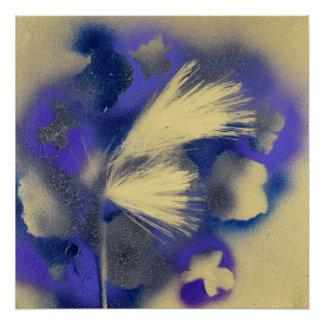 Poster Fougère d'or avec les fleurs pourpres