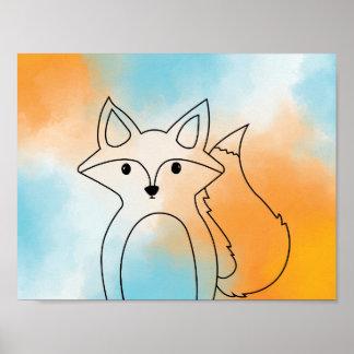 Poster Fox amical coloré