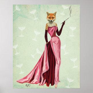 Poster Fox de charme dans le rose