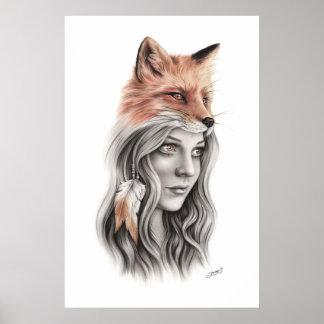 Poster Fox et l'affiche de chant religieux de fille