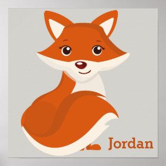 Poster Fox mignon de région boisée de l'affiche de