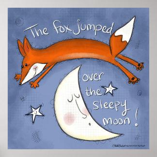 Poster Fox sauté au-dessus de la lune
