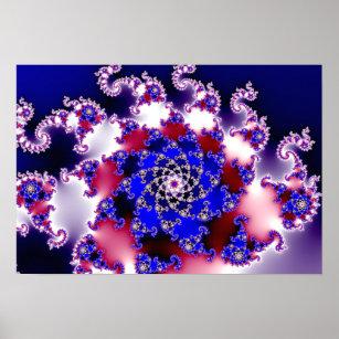 Poster Fractale pourpre d'étoile de Mandelbrot