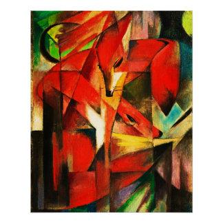 Poster Franz Marc la peinture d'art moderne de Fox rouge