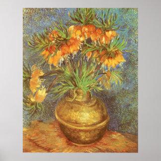 Poster Fritillaires dans un vase de cuivre par Vincent