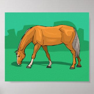Poster Frôlant le thème de cheval de palomino équin
