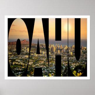 Poster Frontière de typographie de photo d'horizon d'Oahu