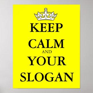 Poster Gardez calme votre slogan préféré fait sur