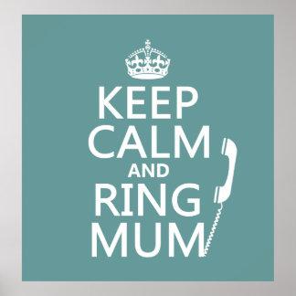 Poster Gardez la maman de calme et d'anneau - toutes les