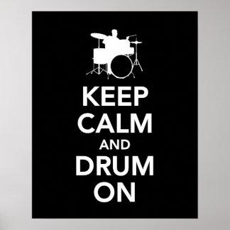 Poster Gardez le calme et battez du tambour sur la copie