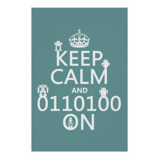 Poster Gardez le calme et (binaire) sur (robots) (toute