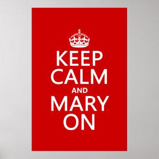 Poster Gardez le calme et la Mary sur (toute couleur)