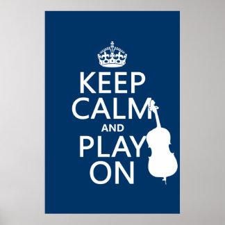 Poster Gardez le calme et le jeu sur (la double basse)