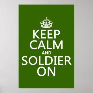 Poster Gardez le calme et le soldat sur (toute couleur