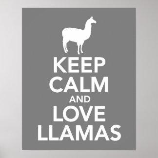 Poster Gardez le calme et les lamas d'amour impriment ou