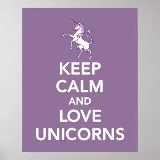 Poster Gardez le calme et les licornes d'amour impriment
