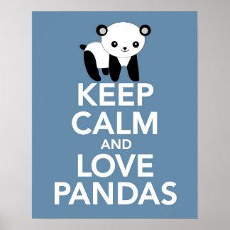 Poster Gardez le calme et les pandas d'amour impriment ou