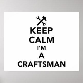Poster Gardez le calme que je suis un artisan
