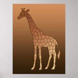 Poster Girafe, cuivre et Brown géométriques modernes