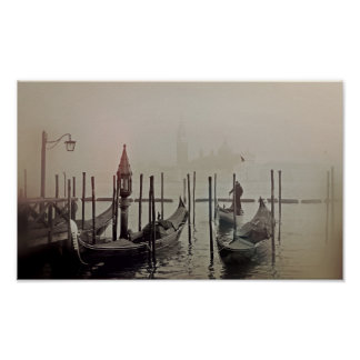 Poster Gondoles dans le brouillard, Venise, Italie