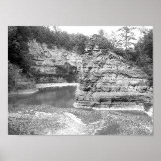 Poster Gorge noire et blanche de rivière de photo