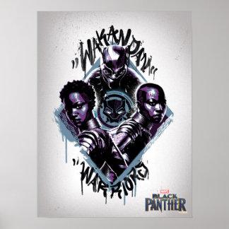 Poster Graffiti de guerriers de la panthère noire |