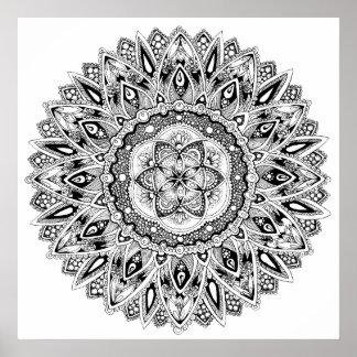 Poster Graine sacrée de la géométrie de mandala de fleur