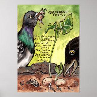 Poster Graines de pigeon de corneille d'affiche de poème