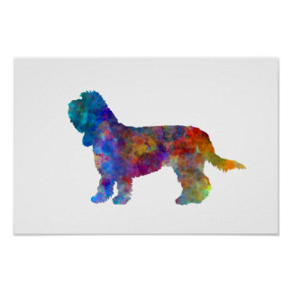 Poster Grand Basset Griffon Vendeen in watercolor