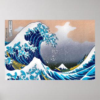 Poster Grande vague de la tapisserie HD vectorisé de mur