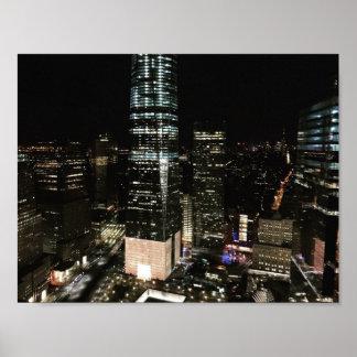 Poster Gratte-ciel du centre de la nuit NYC Manhattan de