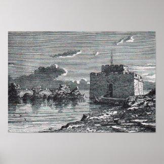 Poster Gravure du 19ème siècle de fort médiéval de Paphos