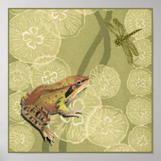 Poster Grenouille et libellule sur des nénuphars