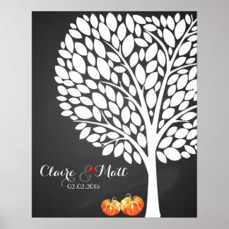 Poster guestbook de signature de mariage de citrouille de