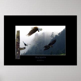 Poster Haida Raven Art-orienté, Eagle et totem Polonais
