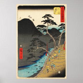 Poster Hakone, Japon : Copie vintage de bois de graveur