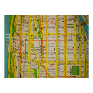 Poster Harlem, affiche vintage de carte de Manhattan