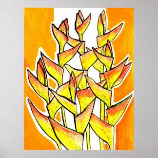 Poster Heliconia Rostrata, griffe de homard, fleurs