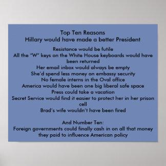 Poster Hillary améliorent le président