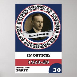 Poster Histoire présidentielle de Calvin Coolidge rétro