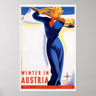 Poster Hiver vintage dans le voyage de ski de l'Autriche