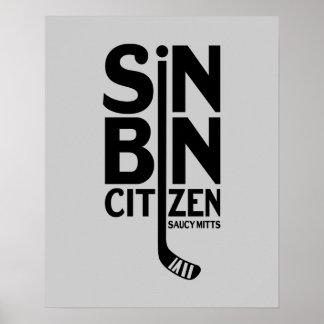 Poster Hockey de citoyen de poubelle de péché