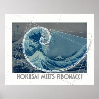 Poster Hokusai rencontre Fibonacci avec l'ordre numérique