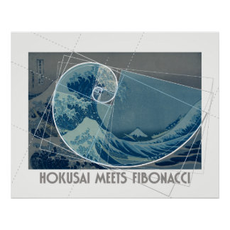 Poster Hokusai rencontre Fibonacci, le rapport d'or #2