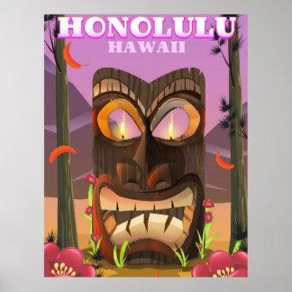 Poster Honolulu Hawaï l'affiche de voyage de masque