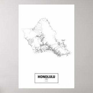 Poster Honolulu, Hawaï (noir sur le blanc)