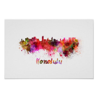 Poster Honolulu skyline in watercolor