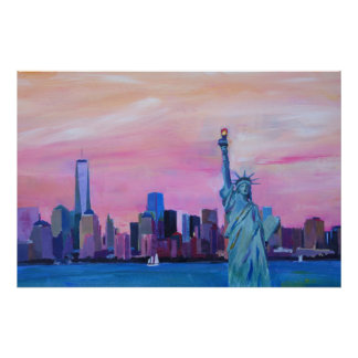 Poster Horizon de New York City - de Manhattan avec la