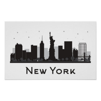 Poster Horizon de New York City | noir et blanc